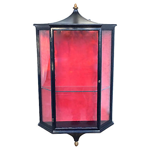 Chinoiserie Style Glass Display Hutch