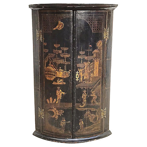 Antique Chinoiserie Style Corner Cabinet