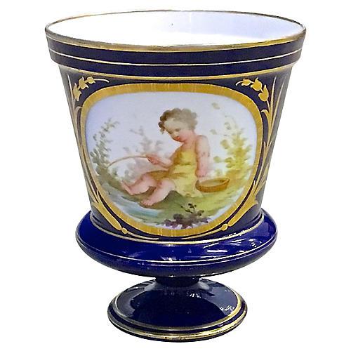 Antique Porcelain Cherub Cachepot