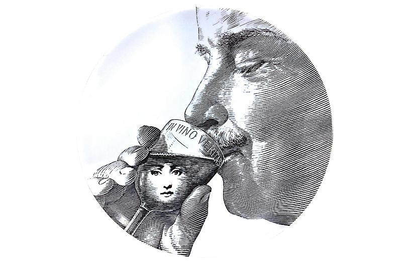 Fornasetti Porcelain Man Drinking Plate