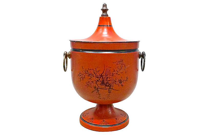 Musical & Floral Tole Urn Ice Bucket