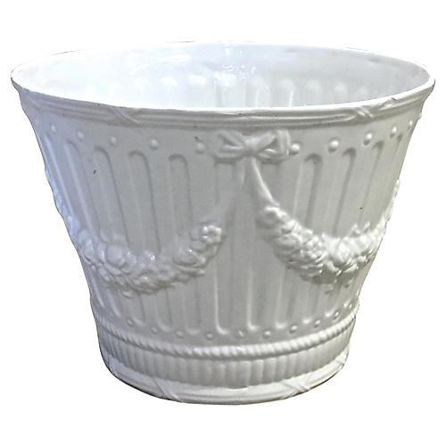 Italian Floral Swag Ceramic Cachepot