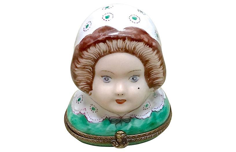 Porcelain Maiden's Head Limoges Box