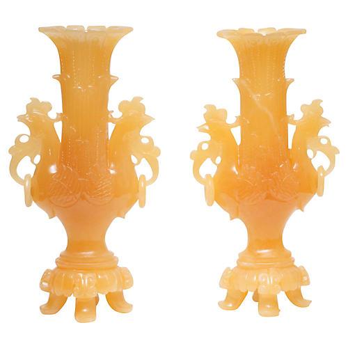 Nephrite Vases, Pair