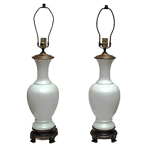 Crackled Glazed Porcelain Lamps, Pair