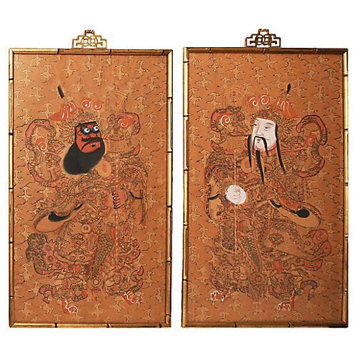 19th-C. Kabuki Actors Watercolors, S/2