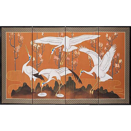 1960s Japanese Dancing Cranes Screen