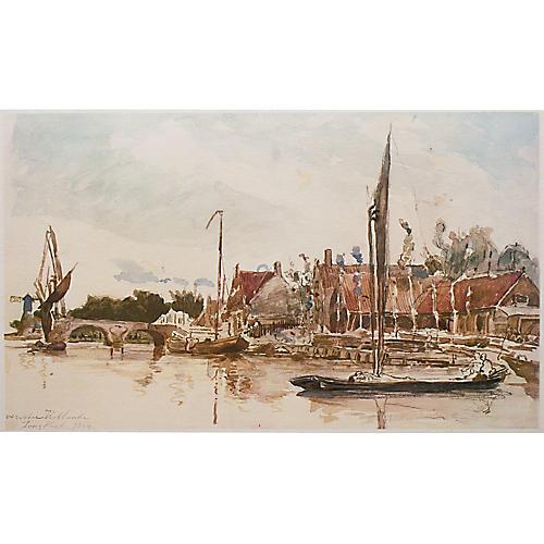 Johan Jongkind, Dutch Harbor Print, 1959
