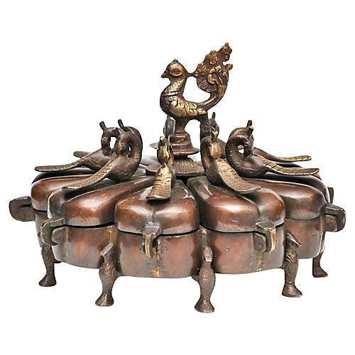 Antique Chinese Iron & Brass Spice Box