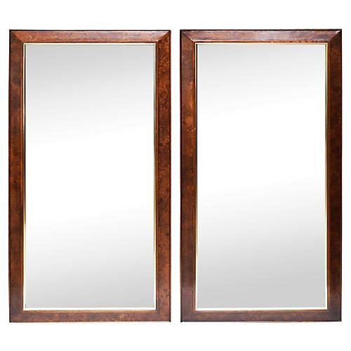 1960s Burl Wood & Brass Mirrors, Pair