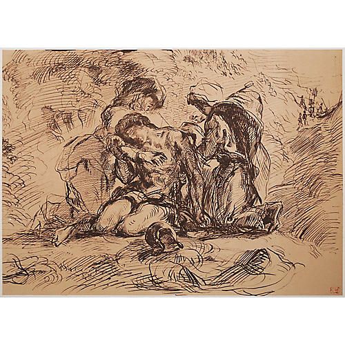 Delacroix St. Sebastian Lithograph, 1959