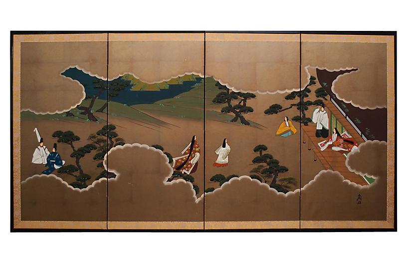 Shōwa Era Tale of Genji Screen