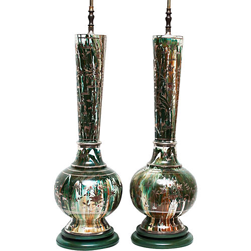 1950s Tall Indo-Persian Lamps, Pair