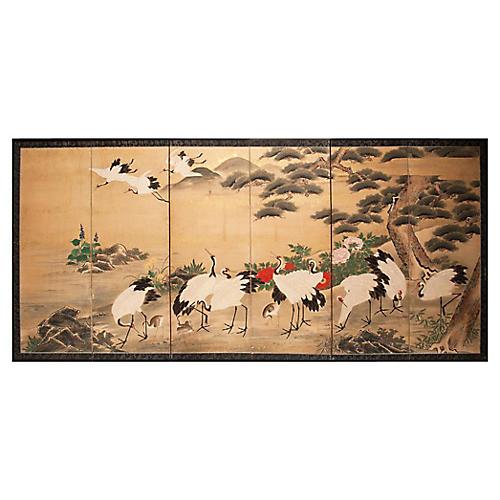 Monumental Edo Era 6-Panel Byobu Screen