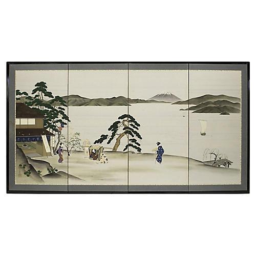 1900-1920s Japanese Ukiyo-e Style Screen