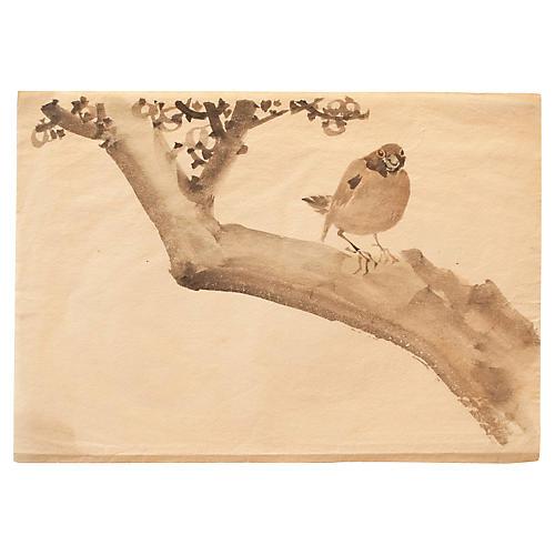 Meiji-Era Sparrow on Persimmon Tree