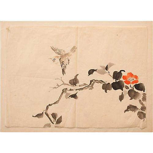 Meiji-Era Warbler & Quince Watercolor