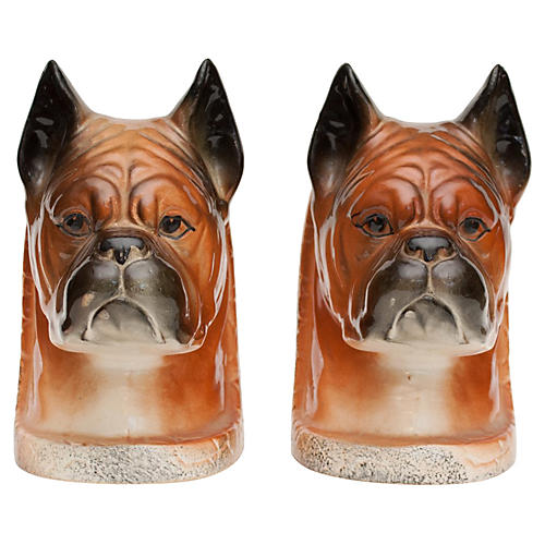 C. 1950s Boxer Dog Porcelain Bookends