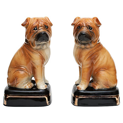 C. 1970s Porcelain Shar-Pei Bookends