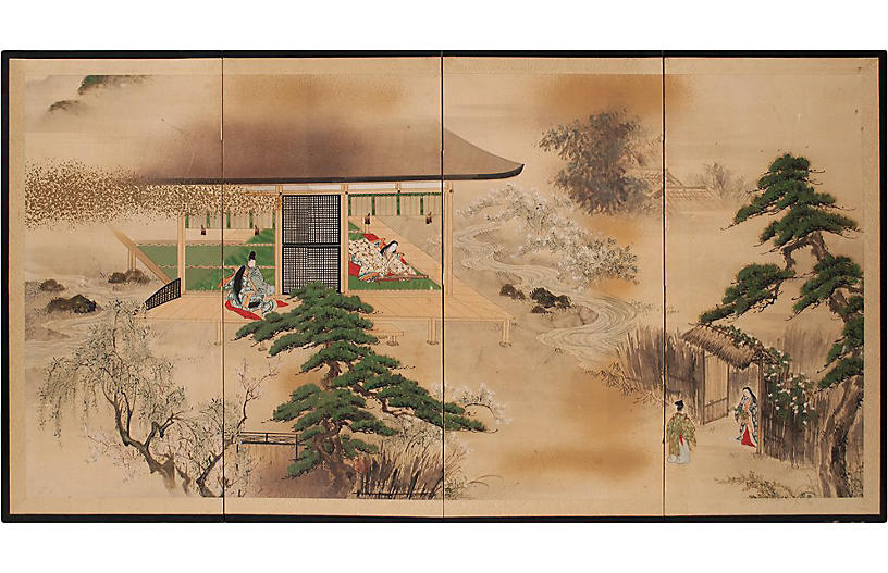 Meiji Japanese the Tale of Genji Screen