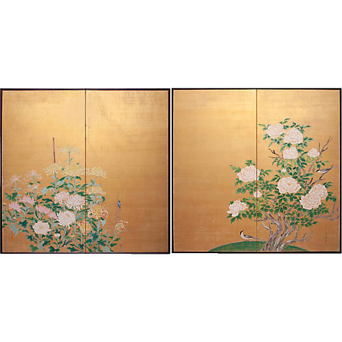 Flowers and Birds Japanese Screens- Pair