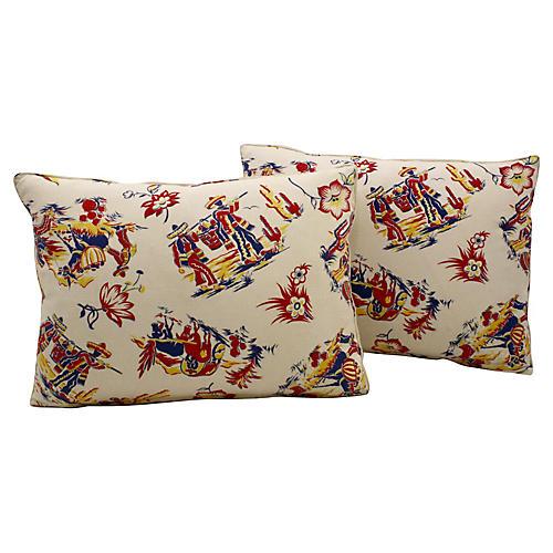 Vintage Printed Ranchero Pillows Pair
