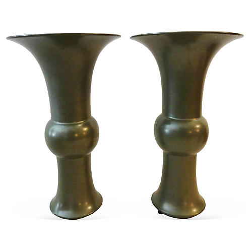 Song Dynasty Style Celadon Vases, Pair