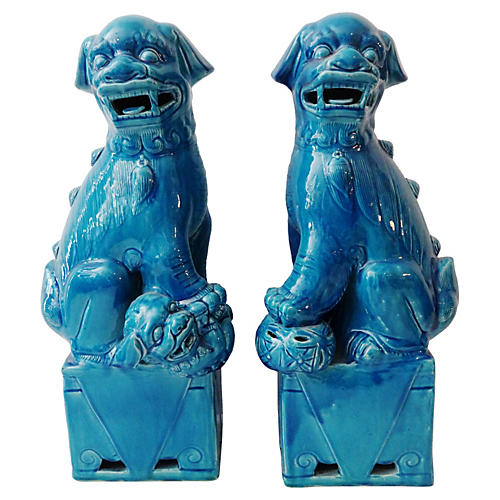Large Turquoise Foo Dogs, Pair