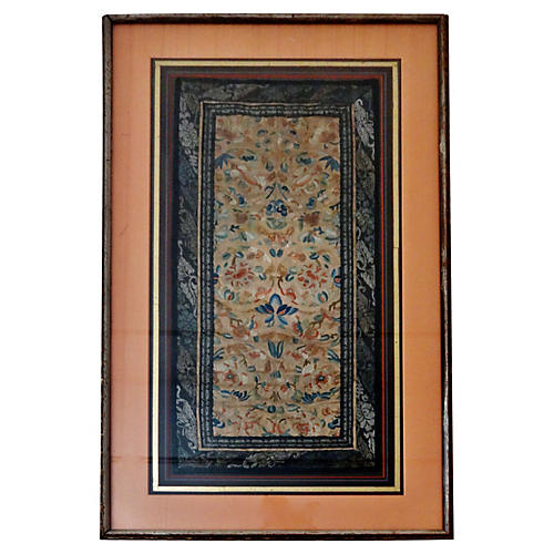 19th-C. Framed Embroidered Silk Panel