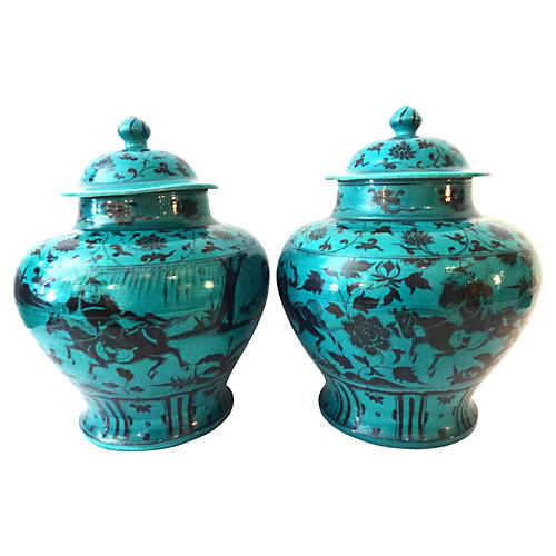 Yuan-Style Hunters Ginger Jars, S/2