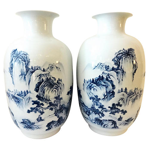 Large Hand-Painted Vases, Pair