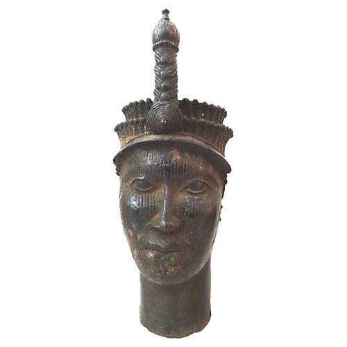 African LG Benin Bronze Head of King Oba