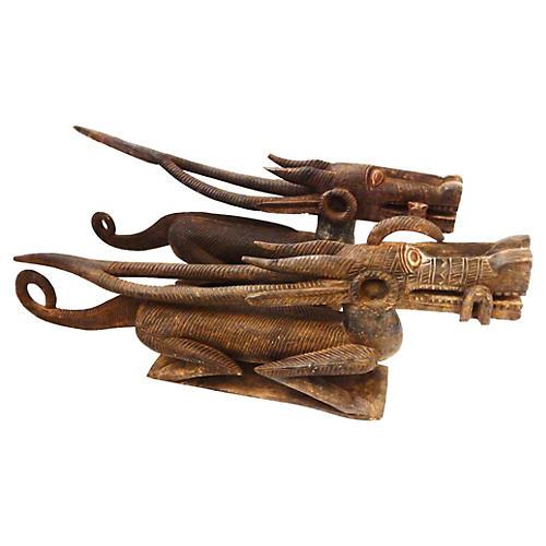 African Bambara Chiwara Sculptures, S/2