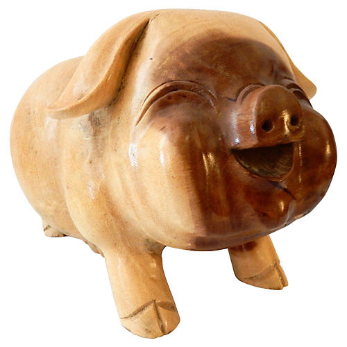 Hand-Carved Happy Pig