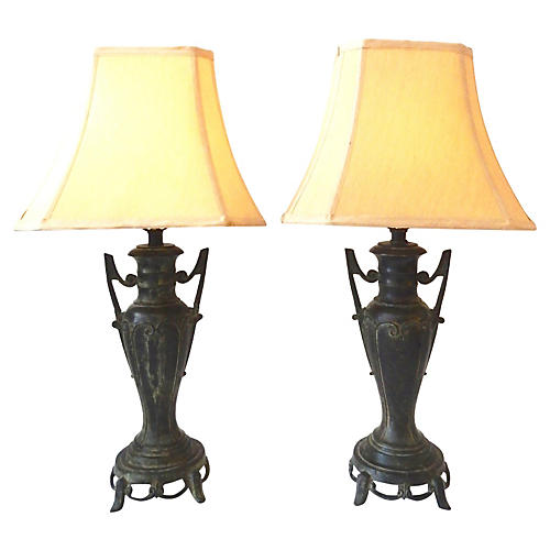 Asian Bronze Lamps, Pair