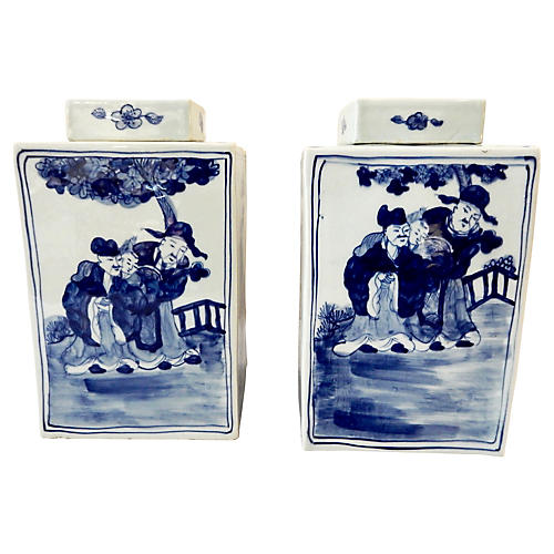 Chinoiserie Square B & W Vases, S/2