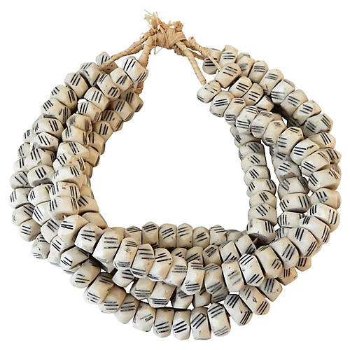 African Faceted Trade Bone Beads, S/5