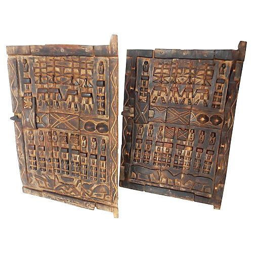 African Dogon Granary Doors, S/2