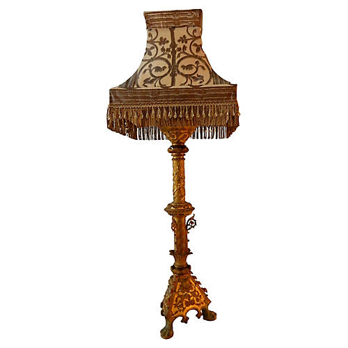Antique Bronze Lamp W /Silk Shade