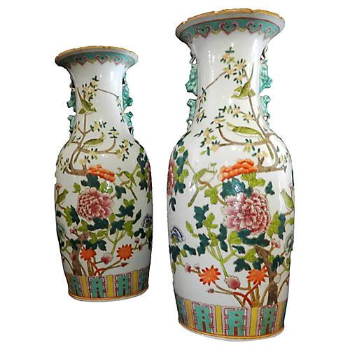 Porcelain Famille Verte W/ Peacock Pair