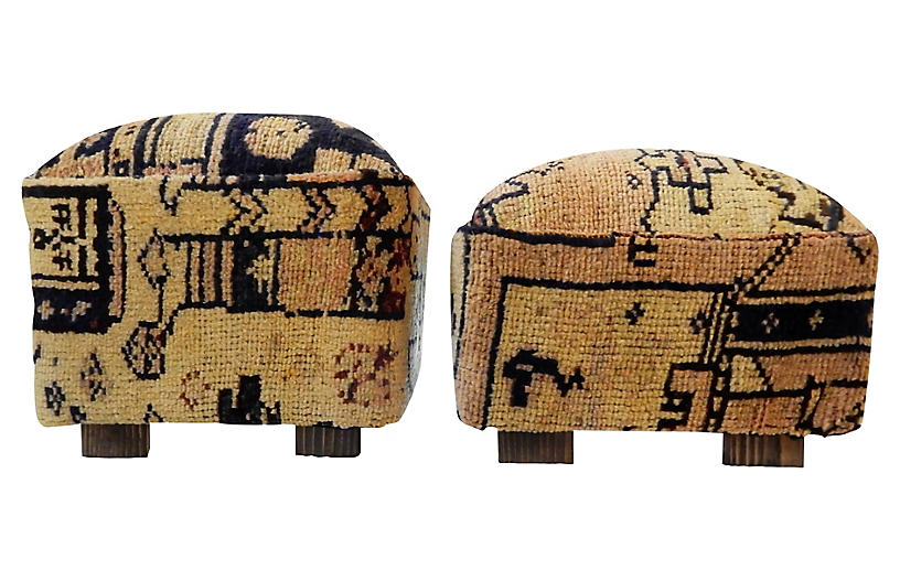 Tribal Herat Rug Ottomans, Pair