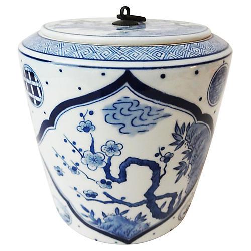 Blue & white lidded tea Canister