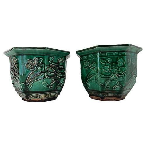 Celadon Planters, Pair