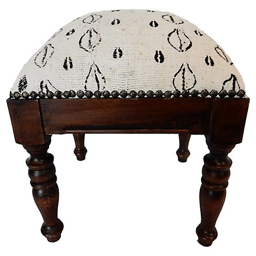 White & Black Mud Cloth Stool