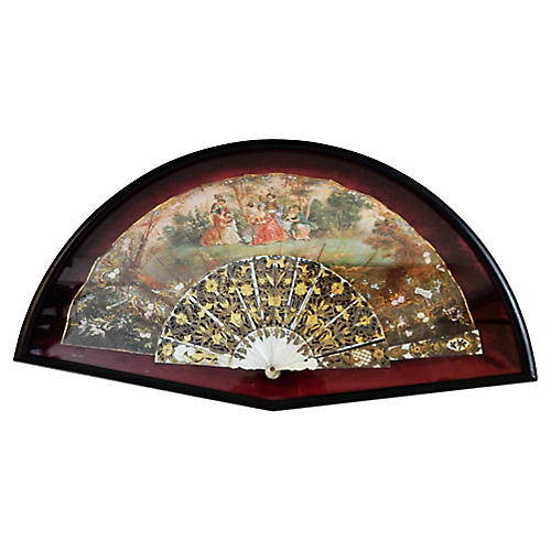 19th-C. Framed French Hand-Painted Fan