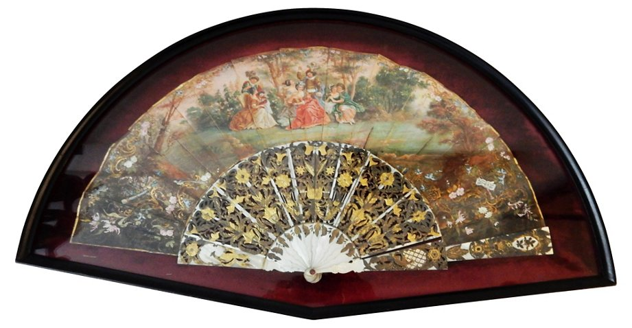 19th C Framed French Hand Painted Fan Ethnika Home Decor And Antiques Top Vintage Dealers One Kings Lane