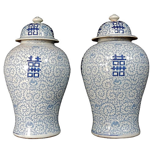 Blue & White Ginger Jars, S/2
