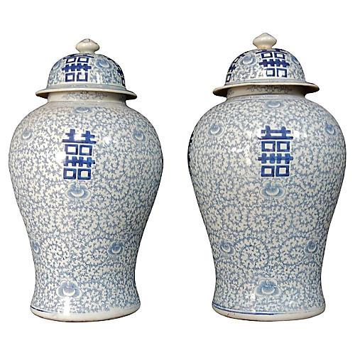 Blue & White Ginger Jars, S/2