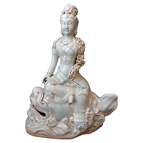 Large Celadon Deity Figure of Kuan Yin
