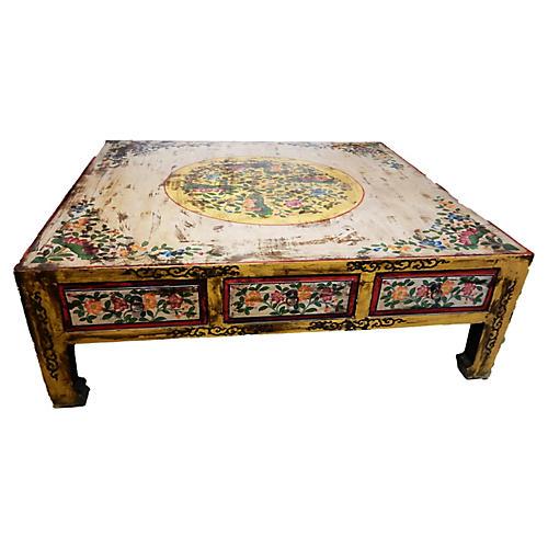 Hand-Painted Tibetan Coffee Table
